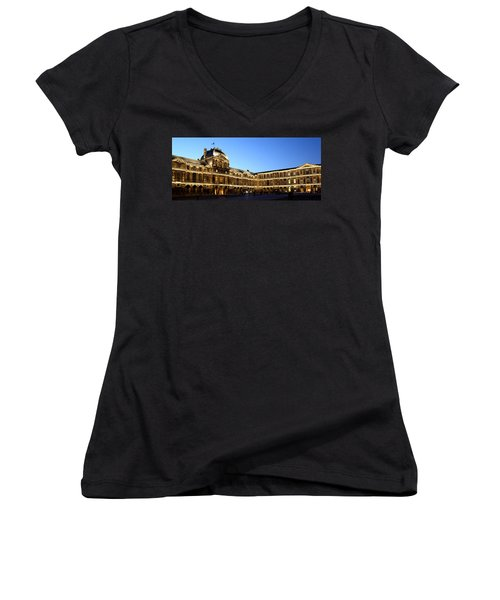 Women's V-Neck T-Shirt (Junior Cut) featuring the photograph Louvre At Night 1 by Andrew Fare