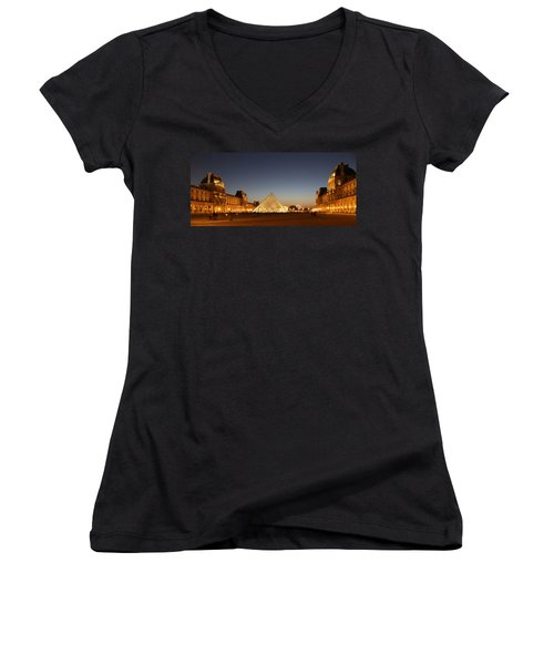 Women's V-Neck T-Shirt (Junior Cut) featuring the photograph Louvre At Night 2 by Andrew Fare