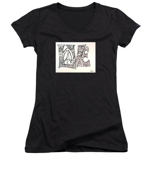 Love Bits Women's V-Neck T-Shirt (Junior Cut) by Claudia Cole Meek