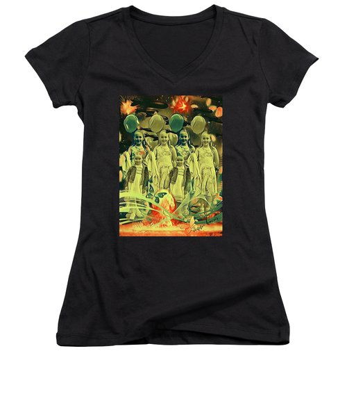 Love In The Age Of War Women's V-Neck T-Shirt (Junior Cut) by Vennie Kocsis