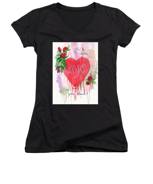Women's V-Neck T-Shirt (Junior Cut) featuring the painting Love In Your Heart by Marilyn Smith