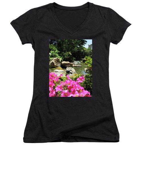 Women's V-Neck T-Shirt (Junior Cut) featuring the photograph Love On The Rocks- Los Angeles- Pandas by Ausra Huntington nee Paulauskaite
