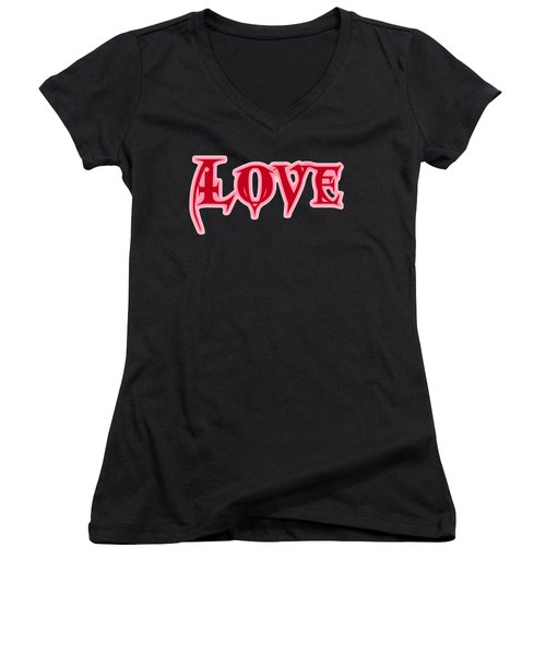 Love Text Women's V-Neck (Athletic Fit)