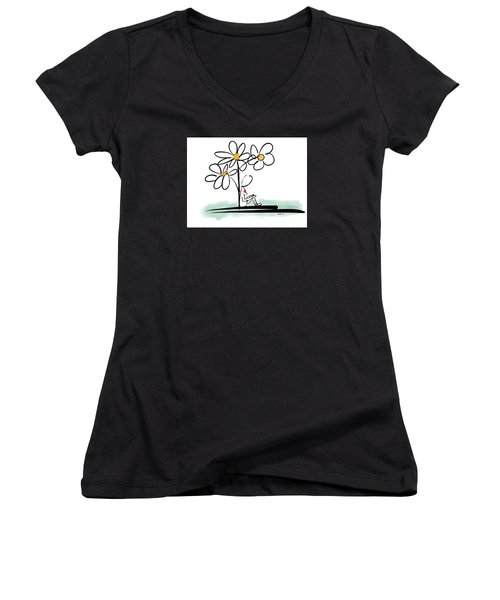 Women's V-Neck T-Shirt (Junior Cut) featuring the photograph Love You by Haleh Mahbod