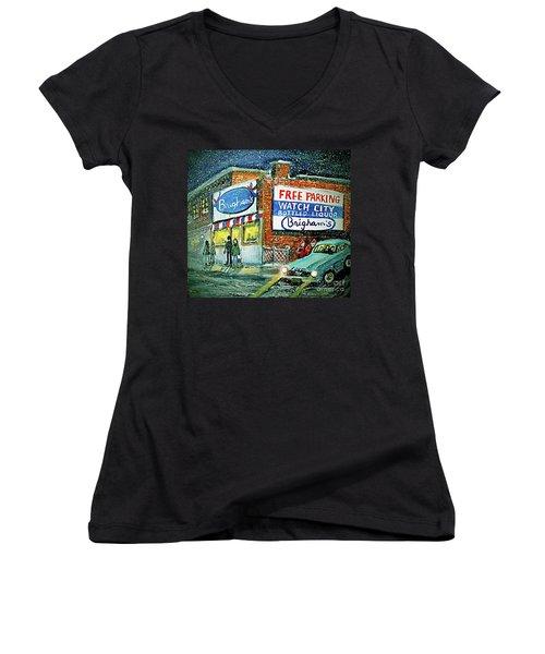 Lower Brigham's Women's V-Neck T-Shirt (Junior Cut) by Rita Brown
