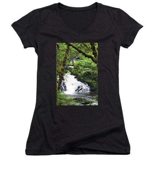 Lower Lunch Creek Falls Women's V-Neck T-Shirt (Junior Cut)