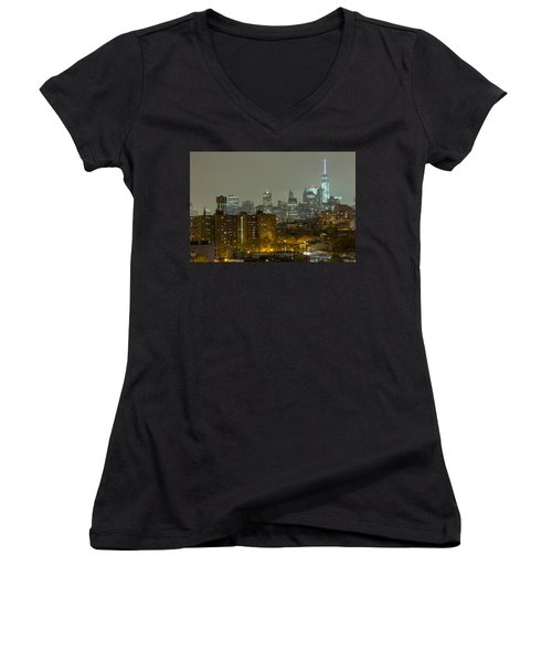 Lower Manhattan Cityscape Seen From Brooklyn Women's V-Neck
