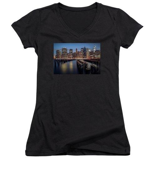 Lower Manhattan Skyline Women's V-Neck T-Shirt (Junior Cut) by Eduard Moldoveanu