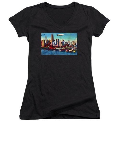 Lower Manhattan Skyline New York City Women's V-Neck