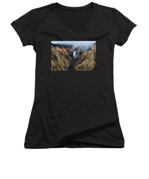 Lower Yellowstone Falls Sunrise Women's V-Neck (Athletic Fit)