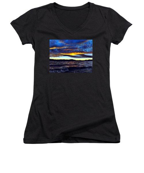Lucerne Sunset Women's V-Neck T-Shirt (Junior Cut) by Linda Becker