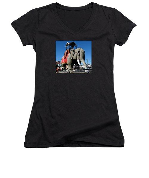 Lucy The Elephant Women's V-Neck T-Shirt (Junior Cut) by Ira Shander