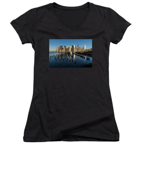 Luminous Blue Silver And Gold - Manhattan Skyline And East River Women's V-Neck