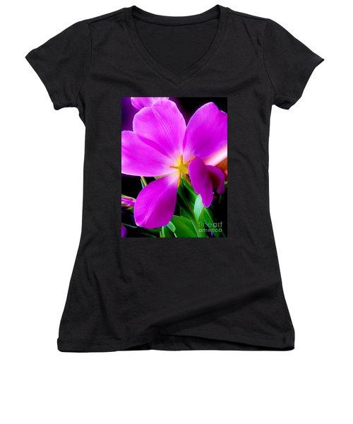 Luminous Tulips Women's V-Neck T-Shirt (Junior Cut) by Tim Townsend