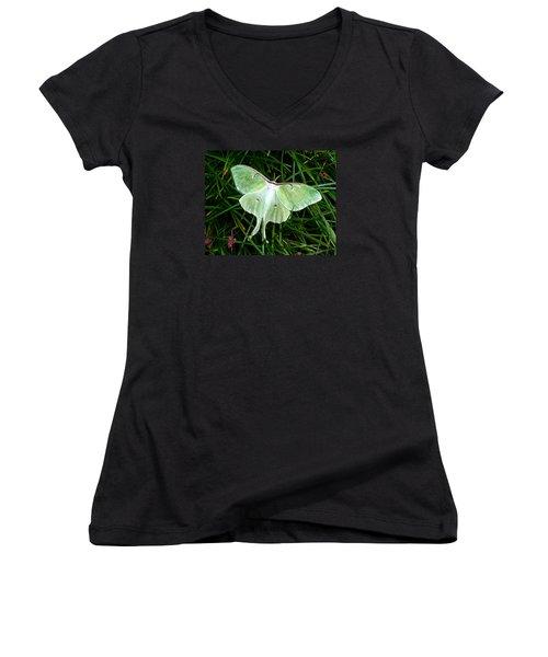 Luna Mission Accomplished Women's V-Neck T-Shirt (Junior Cut) by Carla Parris