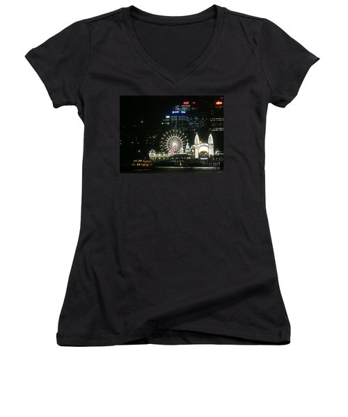 Women's V-Neck T-Shirt (Junior Cut) featuring the photograph Luna Park by Leanne Seymour