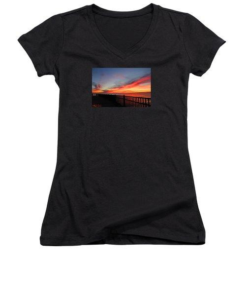 Women's V-Neck T-Shirt (Junior Cut) featuring the photograph Luna Pier by Michael Rucker