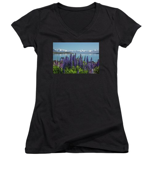 Lupines At Lake Tekapo Women's V-Neck (Athletic Fit)