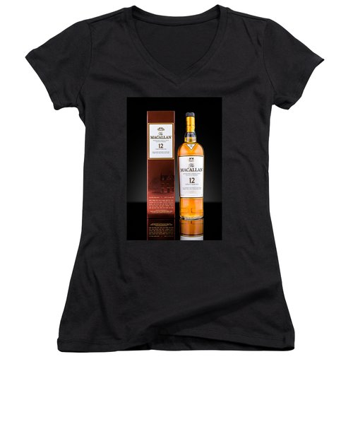 Macallan Single Malt Whisky Women's V-Neck T-Shirt (Junior Cut) by Mihai Andritoiu