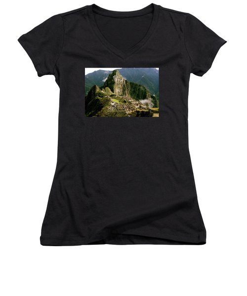 Machu Picchu At Sunrise Women's V-Neck (Athletic Fit)