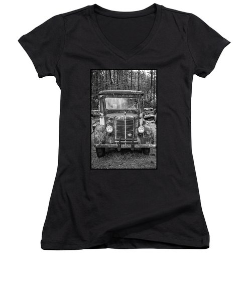 Mack Truck In A Junkyard Women's V-Neck