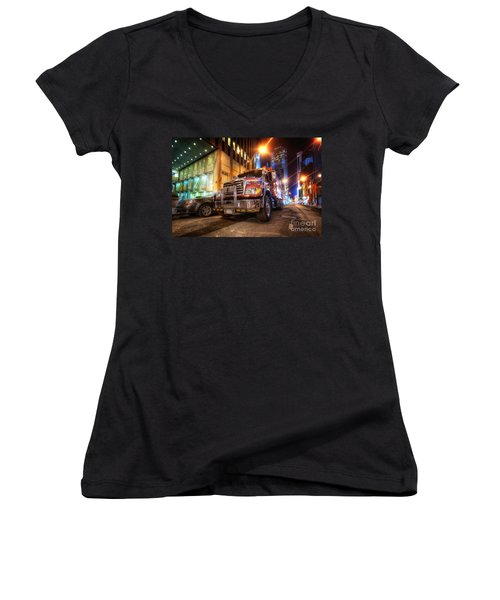 Mack Truck Nyc Women's V-Neck (Athletic Fit)