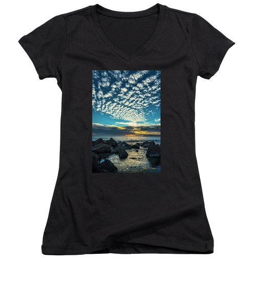 Women's V-Neck (Athletic Fit) featuring the photograph Mackerel Sky by Dan McGeorge