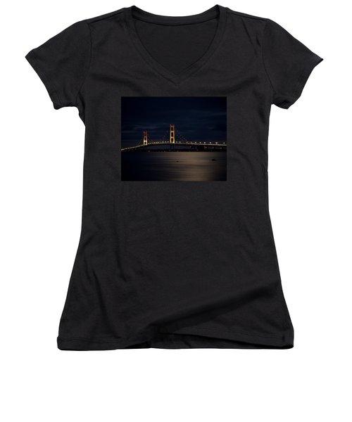 Mackinac Bridge At Night Women's V-Neck (Athletic Fit)