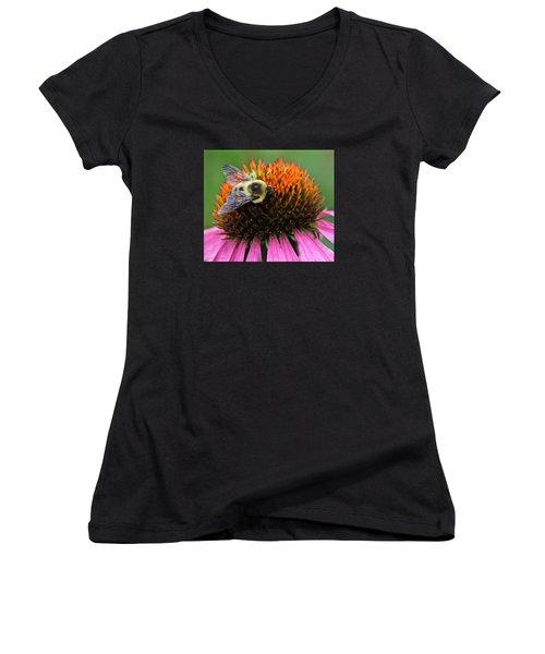 Women's V-Neck T-Shirt (Junior Cut) featuring the photograph Macro Bee by Debra     Vatalaro