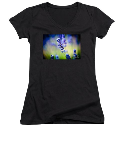 Macro Lavander Flowers In Lavender Field Artmif Women's V-Neck