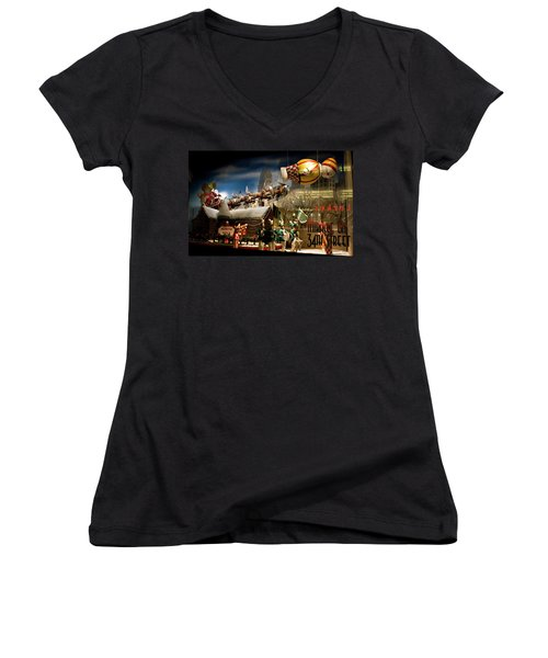Macy's Miracle On 34th Street Christmas Window Women's V-Neck