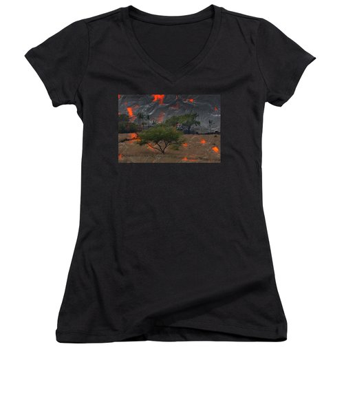Madam Pele Approaches Women's V-Neck T-Shirt (Junior Cut) by Lori Seaman