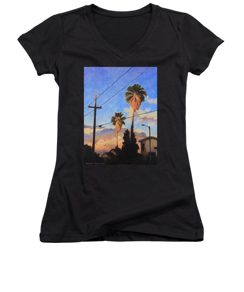 Women's V-Neck T-Shirt (Junior Cut) featuring the painting Madison Ave Sunset by Andrew Danielsen