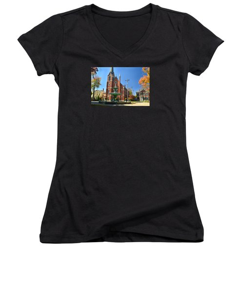 Madison Church And Water Fountain Women's V-Neck T-Shirt