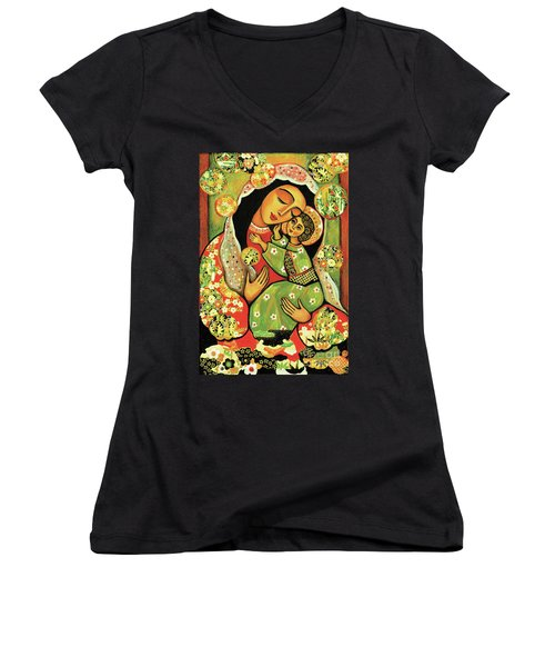 Women's V-Neck T-Shirt featuring the painting Madonna And Child by Eva Campbell