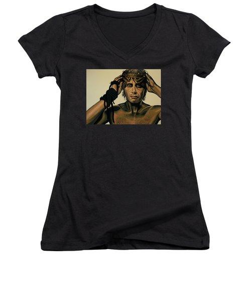 Mads Mikkelsen Painting Women's V-Neck T-Shirt (Junior Cut) by Paul Meijering