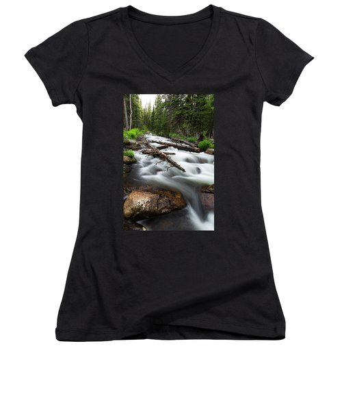 Women's V-Neck T-Shirt (Junior Cut) featuring the photograph Magic Mountain Stream by James BO Insogna