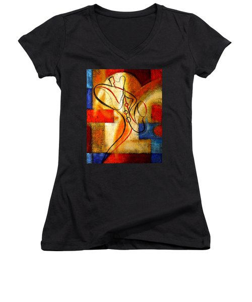 Magic Saxophone Women's V-Neck (Athletic Fit)