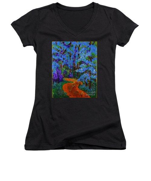 Magical Blue Forest Women's V-Neck T-Shirt