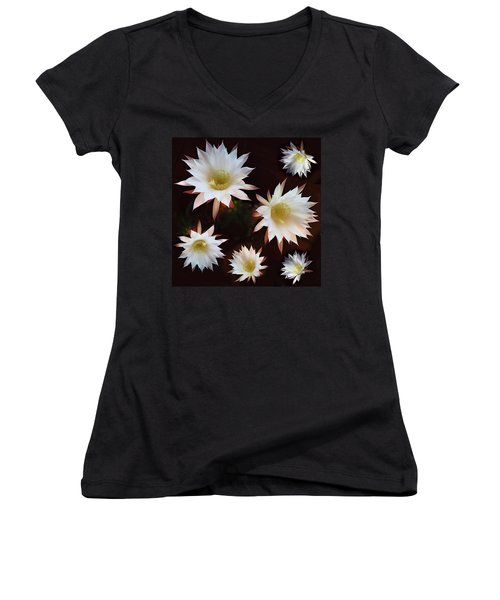 Women's V-Neck T-Shirt (Junior Cut) featuring the photograph Magical Flower by Gina Dsgn