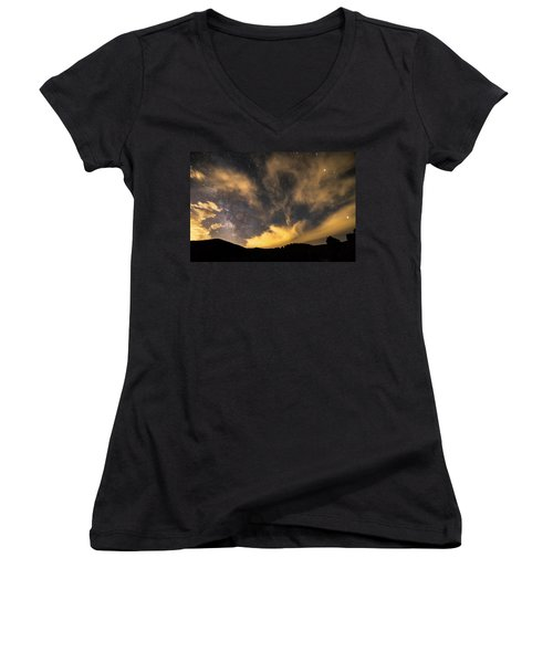 Women's V-Neck T-Shirt (Junior Cut) featuring the photograph Magical Night by James BO Insogna