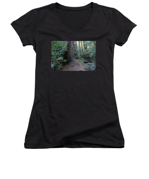 Magical Path Through The Redwoods On Mount Tamalpais Women's V-Neck