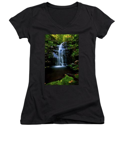 Magical Waterfall Above Spruce Falls In Tremont Smoky Mountains Tennessee  Women's V-Neck