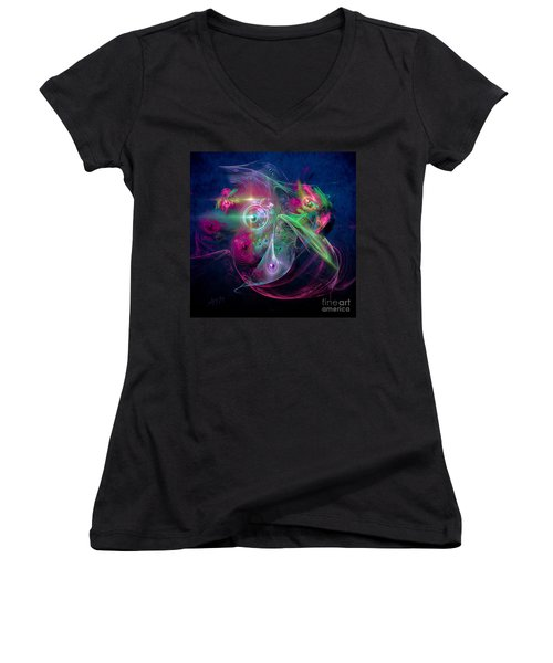 Women's V-Neck T-Shirt (Junior Cut) featuring the painting Magnetic Fields by Alexa Szlavics