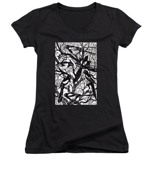 Magpies Women's V-Neck T-Shirt (Junior Cut) by Nat Morley