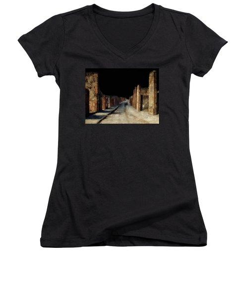 Main Street, Pompeii Women's V-Neck T-Shirt (Junior Cut) by Lois Bryan