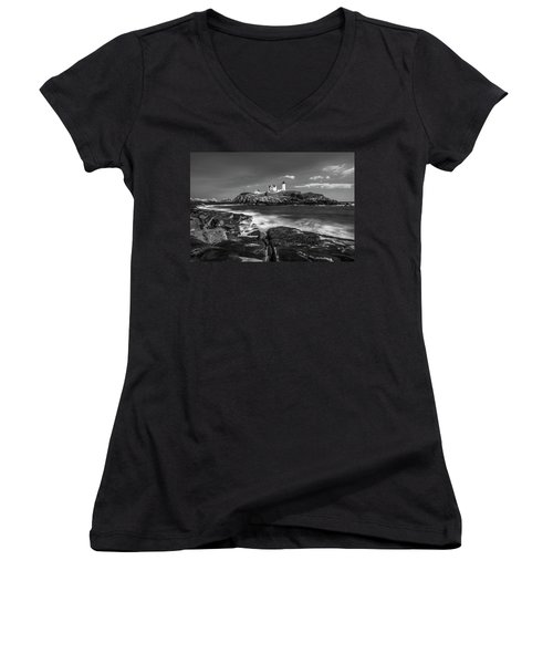 Women's V-Neck T-Shirt (Junior Cut) featuring the photograph Maine Cape Neddick Lighthouse In Bw by Ranjay Mitra