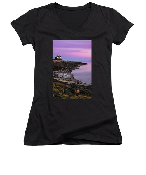 Women's V-Neck T-Shirt (Junior Cut) featuring the photograph Maine Prospect Harbor Lighthouse Sunset In Winter by Ranjay Mitra