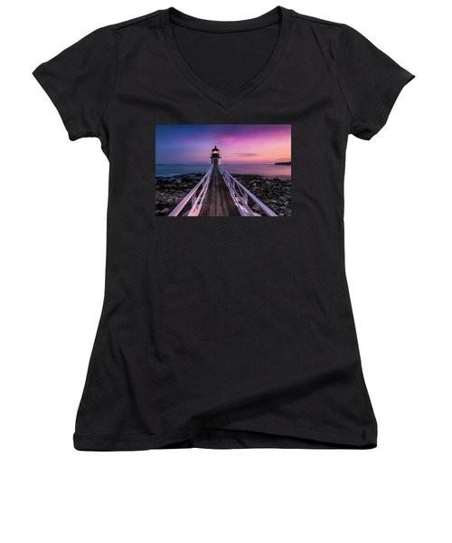 Women's V-Neck T-Shirt (Junior Cut) featuring the photograph Maine Sunset At Marshall Point Lighthouse by Ranjay Mitra