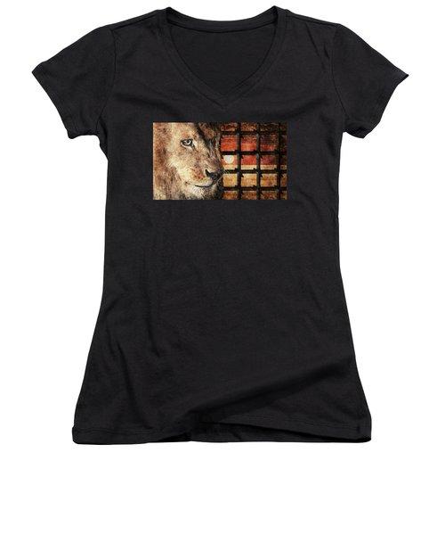 Majestic Lion In Captivity Women's V-Neck T-Shirt (Junior Cut) by Anton Kalinichev